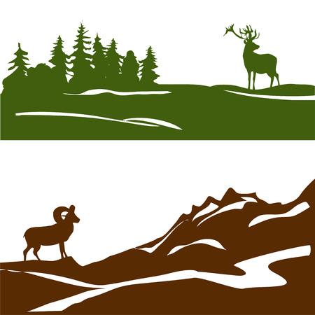 Illustration pour banner with the mountain landscape and forest, silhouette. vector illustration - image libre de droit