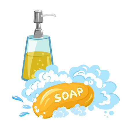 Ilustración de soap foam, shower gel, isolated. vector illustration - Imagen libre de derechos