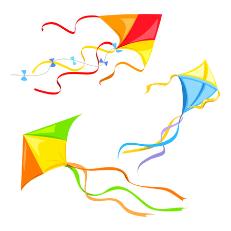Illustration for set of different kites isolated. vector illustration - Royalty Free Image