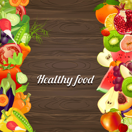 healthy food. vegetables and fruits. wooden background. vector illustration