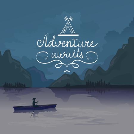 Illustration pour kayak in a mountain lake. adventure awaits. logo. vector illustration - image libre de droit