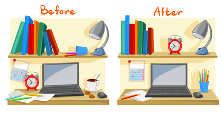 Illustration pour messy desktop clutter, tidy desk. vector illustration - image libre de droit