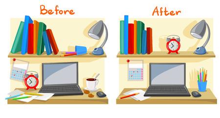 Ilustración de messy desktop clutter, tidy desk. vector illustration - Imagen libre de derechos