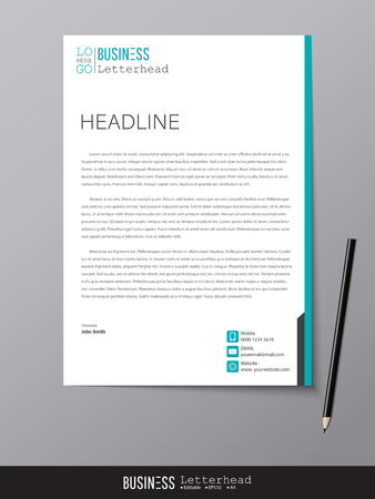 Illustrazione per Letterhead design template and mockup minimalist style vector. Design for business or letter layout, brochure, template, newsletter, document or presentation and other. - Immagini Royalty Free