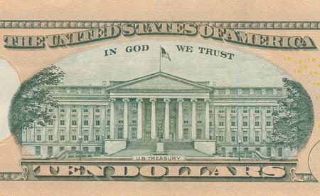Foto de Ten dollar bill 10 usd closeup macro, Alexander Hamilton portrait, united states money close up - Imagen libre de derechos