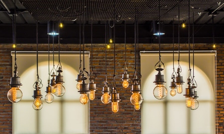 Photo for vintage tungsten light with brick wall and window background,interior loft style - Royalty Free Image