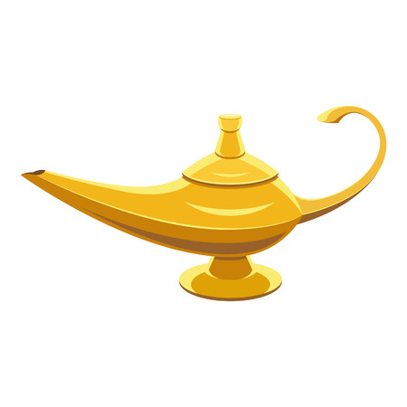 Illustrazione per Gold lamp genie on white isoleted background - Immagini Royalty Free