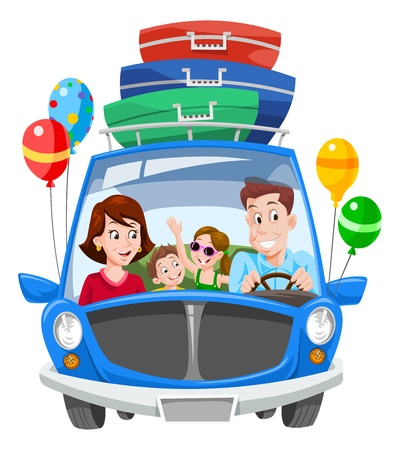 Ilustración de Family Vacation, Car with Luggage and Balloons, vector illustration - Imagen libre de derechos
