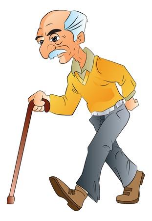 Illustration pour Old Man Walking with a Cane, vector illustration - image libre de droit