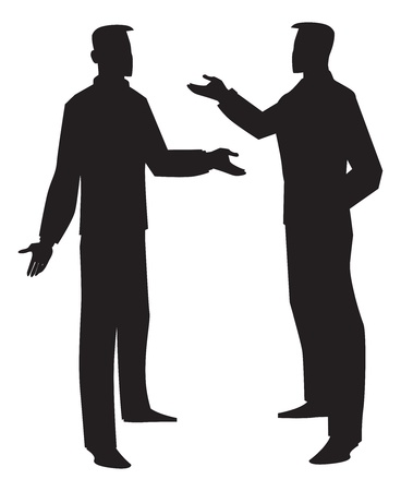 Silhouette of two men talking, black, vector illustration