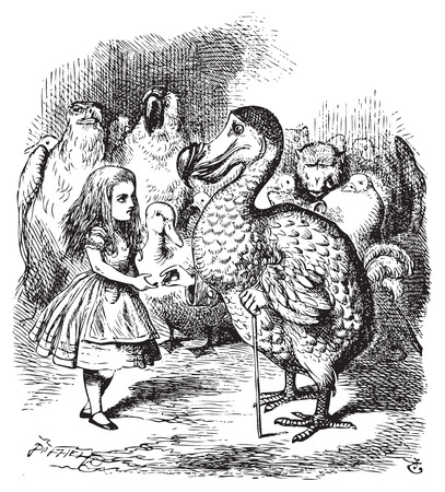 Illustration pour Alice in Wonderland. Alice and the Dodo. Then they all crowded round her once more, while the Dodo solemnly presented the thimble.Alice's Adventures in Wonderland. Illustration from John Tenniel, published in 1865. - image libre de droit