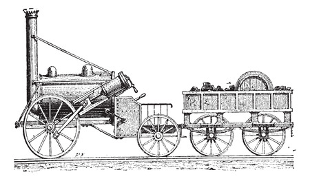 Illustration pour Stephenson's Rocket, vintage engraved illustration. Dictionary of Words and Things - Larive and Fleury - 1895 - image libre de droit
