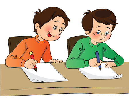 Illustration pour Vector illustration of boy copying from other student's paper during examination. - image libre de droit