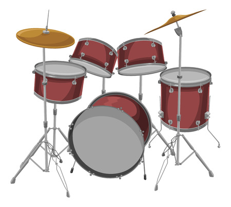 Illustration pour Vector illustration of drum kit. - image libre de droit
