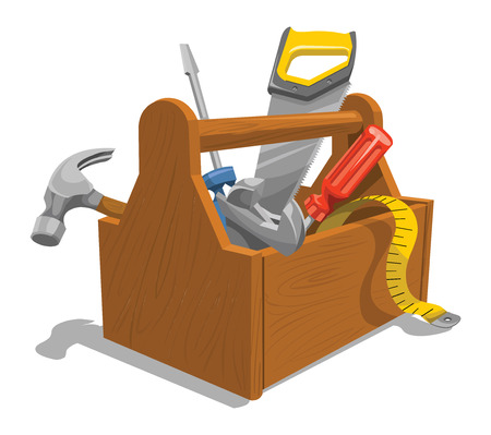 Illustration pour Vector illustration of wooden toolbox with repairing tools. - image libre de droit