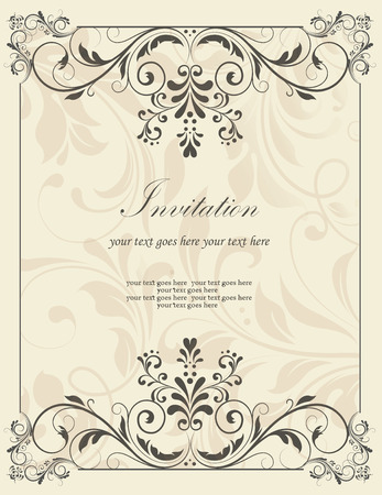 Ilustración de Vintage invitation card with ornate elegant retro abstract floral design, dark gray flowers and leaves on light gray background with frame borders and text label. Vector illustration. - Imagen libre de derechos