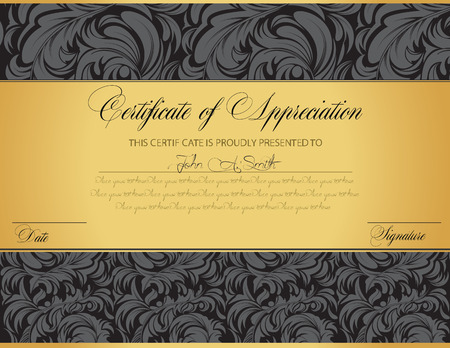 Illustrazione per Vintage certificate of appreciation with ornate elegant retro abstract floral design, dark gray flowers and leaves on black and gold background with tri-section. Vector illustration. - Immagini Royalty Free