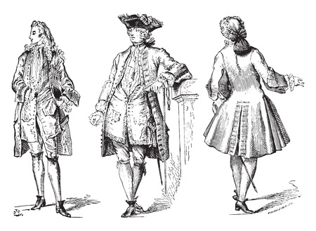 Illustration for Stylish (Regency) court dress coat and city (1729), vintage engraved illustration. Industrial encyclopedia E.-O. Lami - 1875. - Royalty Free Image