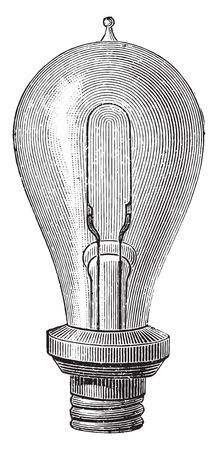 Illustration for Edison's incandescent lamp, vintage engraved illustration. Industrial encyclopedia E.-O. Lami - 1875. - Royalty Free Image