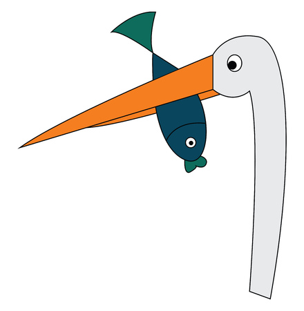 Ilustración de A white crane with a long neck and a long orange beak holding a green fish in its beak vector color drawing or illustration - Imagen libre de derechos