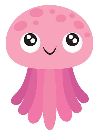 Ilustración de A pink-colored jellyfish with umbrella-shaped bells and trailing tentacles has a cute little face with eyes rolled top-left is smiling, vector, color drawing or illustration. - Imagen libre de derechos