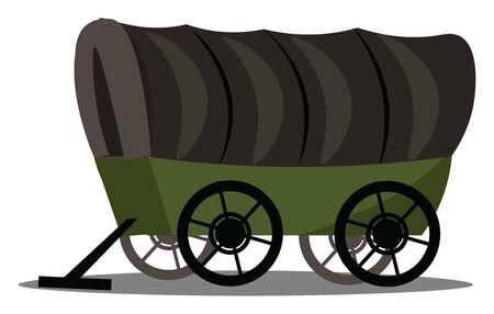 Illustration pour This is an image of covered wagon. Wagon is vehicle used for transportation of goods and other things., vector, color drawing or illustration. - image libre de droit