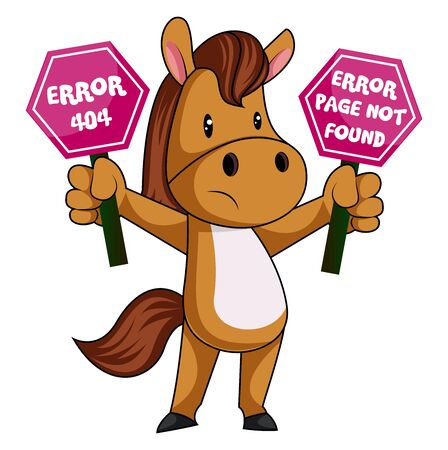 Illustration pour Horse with 404 error, illustration, vector on white background. - image libre de droit