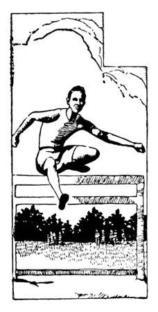 Ilustración de In this image a man is jumping over a hurdle. This is a part of sports vintage line drawing or engraving illustration. - Imagen libre de derechos