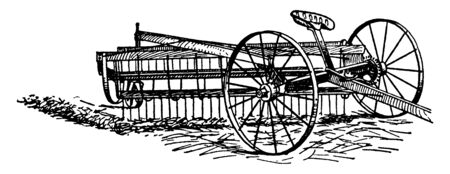 Ilustración de Side Delivery Rake is a horse rake in which the rake is suspended between the axle of the pair of wheels and a third or caster wheel trailing at the end of the rake, vintage line drawing or engraving illustration. - Imagen libre de derechos