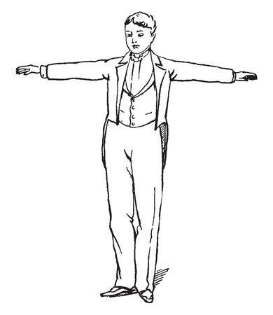 Ilustración de A man with hands stretched outwards, a gesture of dispersion, vintage line drawing or engraving illustration - Imagen libre de derechos