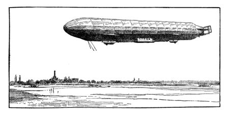 Illustration pour Zeppelin airship flying over water, vintage line drawing or engraving illustration. - image libre de droit