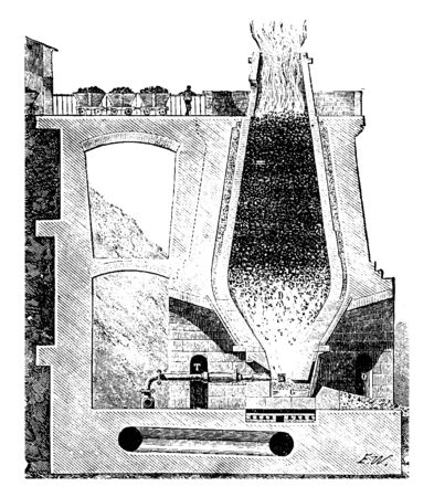 Ilustración de This illustration represents Blast Furnace which is used for smelting to produce metals, vintage line drawing or engraving illustration. - Imagen libre de derechos