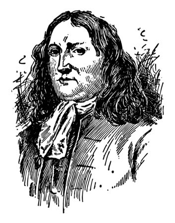 Illustrazione per William Penn, 1644-1718, he was an English real estate entrepreneur, philosopher, and founder of the province of Pennsylvania, vintage line drawing or engraving illustration - Immagini Royalty Free