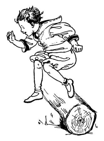 Ilustración de A boy is jumping and crossing a hurdle of a log, vintage line drawing or engraving illustration. - Imagen libre de derechos