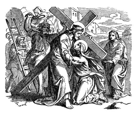 Illustration pour Jesus is carrying the cross and on the way to Calvary and a person bows down on his knees before him and crying, Jesus trying to erect him, vintage line drawing or engraving illustration. - image libre de droit