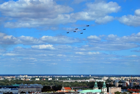 Photo for Warsaw, Poland.15 August 2017. Military parade in Warsaw on the occasion of the Polish Army Day. Flight of aircrafts - Royalty Free Image