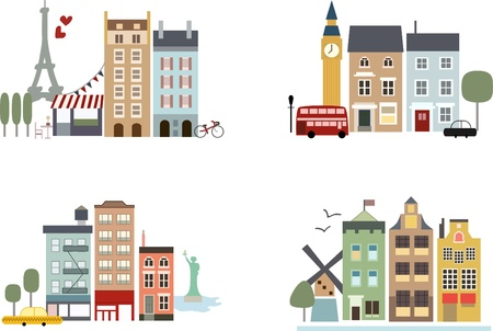 Big cities with landmarks Paris London New York and Amsterdam mural