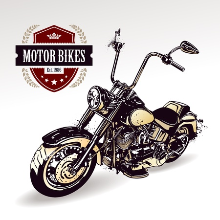 Chopper  customized motorcycle with club insignia  Vector illustration