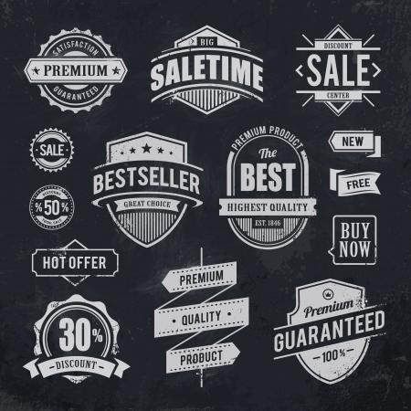 Illustration for Chalk drawn sale emblems  Set of retro styled trade badges illustration  - Royalty Free Image