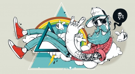 Ilustración de Abstract graffiti hipster illustration. Hand-drawn bizarre hipster dude on abstract triangle background. Vector illustration. - Imagen libre de derechos