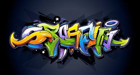 Illustration pour Bright graffiti lettering on dark background  Wild style graffiti letters  Vector illustration  - image libre de droit