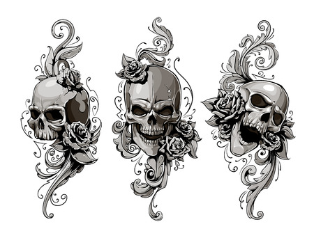Illustrazione per Skulls with floral patterns vector set. Vector illustration. - Immagini Royalty Free