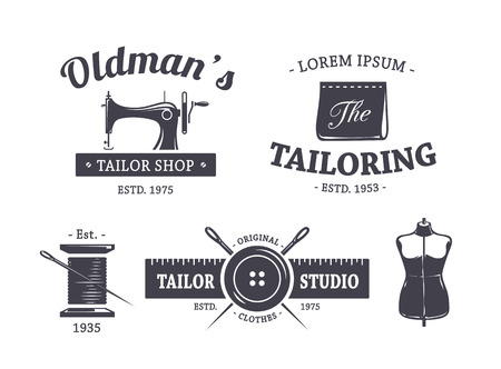 Ilustración de Vector set of vintage tailor emblems. - Imagen libre de derechos