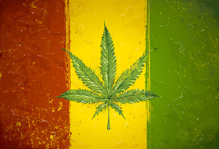 Illustration pour Gruge styled hand-drawn ganja leaf on rastafari colored flag. Vector illustration - image libre de droit