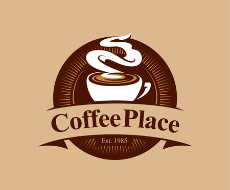Ilustración de Coffee shop logo design template. Retro coffee emblem. Vector art. - Imagen libre de derechos