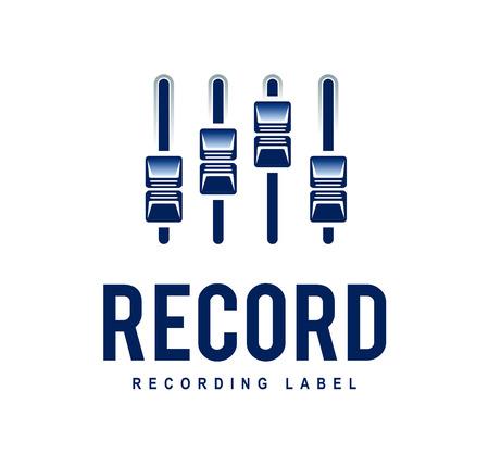 Illustration pour Musical logo design template. Audio mixer sliders. Recording studio. Vector art. - image libre de droit