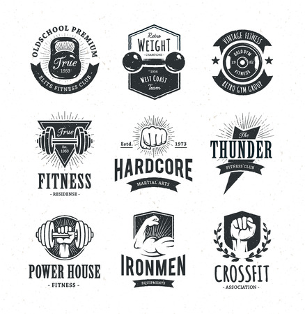 Ilustración de Set of retro styled fitness emblems. Vintage gym icon templates. Vector illustrations. - Imagen libre de derechos
