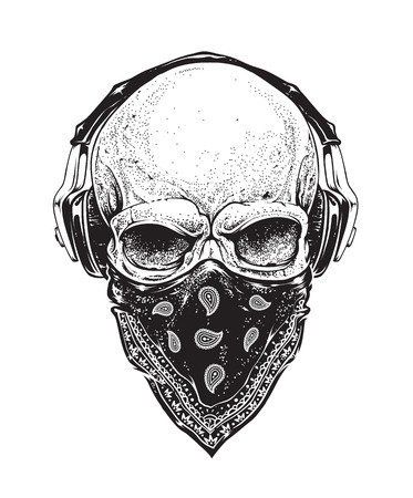 Illustration pour Dotwork styled skull with headphones and bandana. Vector art. - image libre de droit
