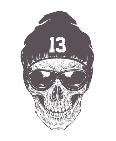 Illustration pour Dotwork style skull with sunglasses and hat. Isolated on white. Vector art. - image libre de droit
