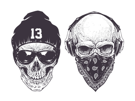 Illustration pour Two dotwork skulls with modern street style attributes. Vector art. - image libre de droit